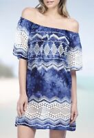 La Blanka Women's Swimwear Coverup Large NWT $99 Off The Shoulder Blue White