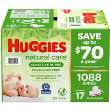 Huggies Natural Care Baby Wipe Refill Refreshing Clean 17 Packs 1088 Count