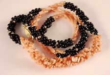 Vintage Pink Salmon Natural Coral Black Onyx Bead Necklace