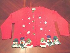 WOMEN'S HEIRLOOM COLLECTIBLES UGLY CHRISTMAS CARDIGAN SWEATER GAUDY SIZE M