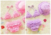 3pcs kids baby girl bow ruffle swimsuit  princess swim bikini swimwear Sets
