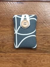 iPOD NANO 7/8th GEN PADDED CASE HANDMADE ORLA KIELY COOL GREY LINEAR STEM FABRIC