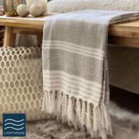 Luxury Large Soft Linen Beige Natural Checked Fringed Sofa / Bed Blanket Throw