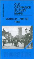 OLD ORDNANCE SURVEY MAP BURTON ON TRENT SOUTH 1882 COLOURED EDITION