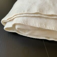 Faribault Woolen Mill Pure & Simple 100% Wool Blanket Bone White Queen USA Made