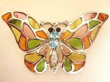 Sterling Silver Pink Green Orange Glass Butterfly Bug 2 in 1 Brooch Pin Pendant