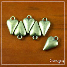 Smooth Bronze Heart charms ~PACK of 6~ steampunk metal pendant bead love gift