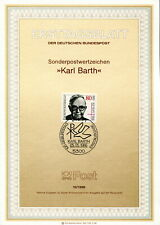 1986 Germany. Karl Barth, Theology. SG 2130. FDC. Ersttagsblatt 10/1986 Religion