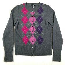 Apt 9 Womens M Pure Cashmere Gray Pink Purple Argyle Button Front Cardigan
