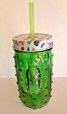 Cactus Style Decorative Drinking Mason Jar Glass w/ Top w/Leak Proof Straw 16 oz