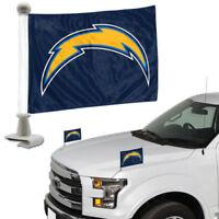 NFL Los Angeles Chargers Ambassador Hood / Trunk Car Flag- Set of Two