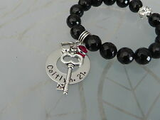 Personalised  Hand Stamped Names/Any Wording 21st  Black Agate  Bracelet