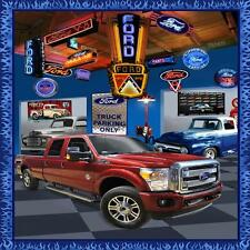 Ford Trucks Large Panel Cotton Print Quilting Fabric - 90cm x 110cm
