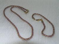 Vintage DEMI Goldtone Twist Chain with Purple Cord Necklace & Bracelet –