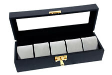 5 Watch Black Leather Display Cases Travel Glass Top