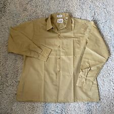 Mr Frederick Vintage 60s Large Tan Loop Collar Sport Shirt Rockabilly Square Hem