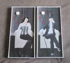 Duo Tableau pendule horloge couple gentleman noir & blanc