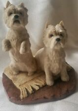 Hand Made-Scotland-BORDER FINE ARTS White Welsch Terrier Dog Figurine Pair