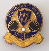 Canberra West Bowling Club Badge Pin Vintage Lawn Bowls (L26)