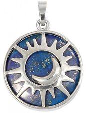 Pendant Necklaces For Women, Lapis Lazuli Sunyik Round Moon And Sun Amulet