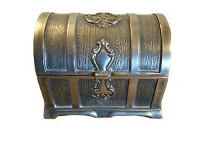 Rectangle Vintage Metal Treasure Chest Trinket Jewelry Box Silver Colour T2047