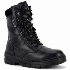 Black Leather Army Patrol Combat Boots Military Police Tactical Security Cadet