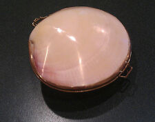 Vintage Clam Sea Shell Brass Clasp Compact
