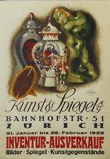 Original Plakat - Kunst & Spiegel AG Zürich, Baumberger Otto