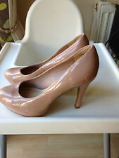 New Look nude patent stiletto heel shoes size 4 UK 37 EU
