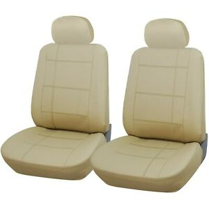 Car Seat Covers Seat Protectors Leather Look Beige Heavy Duty Front 1+1