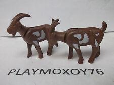 PLAYMOBIL ANIMALES. LOTE DE DOS CABRAS MARRONES.