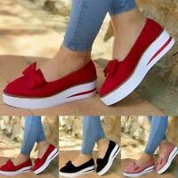 Ladies Women Bow Flat Slip On Pumps Shoes Casual Loafers Plimsolls Trainers G4T4