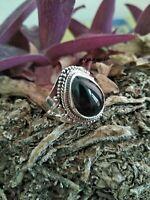 black onyx Solid 925 Sterling Silver Band  Ring Meditation statement Ring sr015