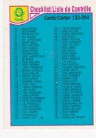 1985-86 O-PEE-CHEE==CHECKLIST #-256 CARDS #'s 133-264
