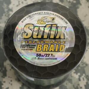 Spool Sufix Braid Fishing Line 50# Test (=12# Mono) 3500 Yards Low Vis Green NEW