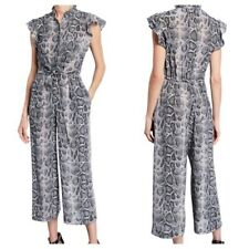 NEW Rebecca Taylor Snake Silk Tie Front Jumpsuit Gray Crop Button Front 2