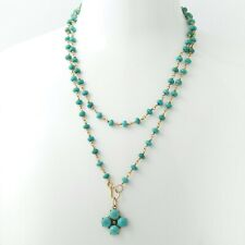 Turquoise Bead Necklace 18K Yellow Gold Hand Made