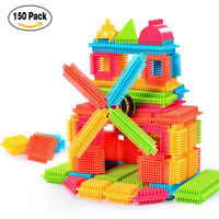 150PCS Bristle Shape 3D Building Blocks Tiles Construction Playboards Toys