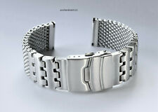 22mm Heavy Duty SHARK MESH Brushed Stainless Steel Diving, Dive Watch Bracelet