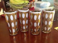Culver Glass-Set of (4) Piza Pattern MCM Vintage Collins Glasses