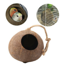 Coconut Shell Bird Nest House Hut Cage Feeder Toy For Pet Parrot Budgie Parakeet