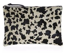 NEW Ex TOPSHOP Suedette Animal Print Party Silver Zip Stylish Purse Clutch Bag