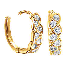 Jewelry Platinum Gold Plated Infinity Knot Small Hoop Crystals Earrings 187-96