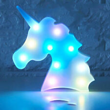 Colorful Unicorn Head LED Night Light Up Table Lamp Kids Bedroom Christmas Decor