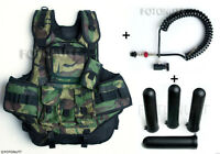 Complete WOODSBALL CAMO TACTICAL PAINTBALL VEST Package with 4 PODS & REMOTE