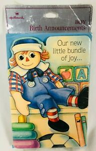 Vtg Hallmark Raggedy Andy Baby Boy Birth Announcement Cards Pkg of 8 w Envelopes