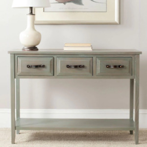 Aiden 43 In. French Gray Standard Rectangle Wood Console Table with Drawers