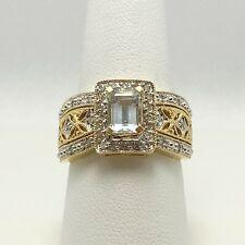 Fabulous Genuine Aquamarine Diamond 14k Gold Ring (6905)