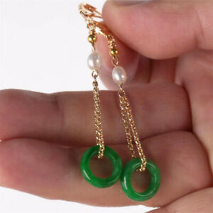Natural Green jadeite Pearl Earrings Dangle 18KGP Chain Ms gift Hook Lucky