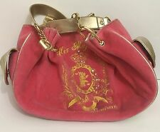 Juicy Couture Her Majesty Handbag Pink Velvet Gold Trim 2 Cell Phone Pockets